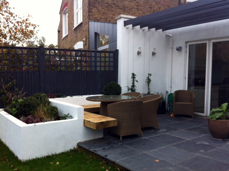 Patio and dining area in Clapham family garden