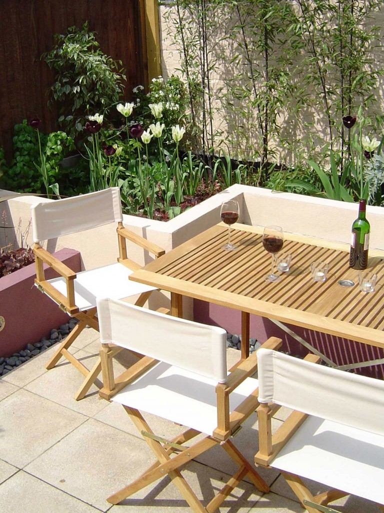 Dining area in South London city garden
